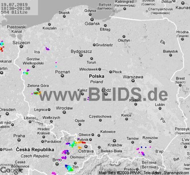 Ścieżka burz w godzinach 18.30-20.30 (blids.de)