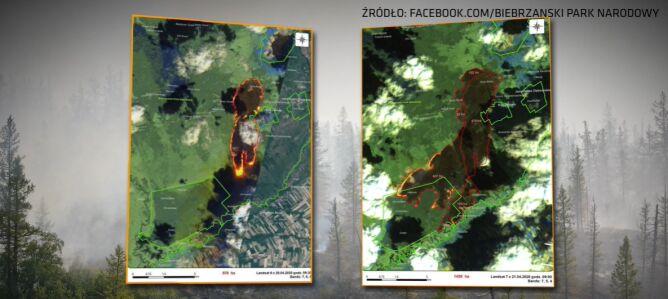 Porównanie rozmiaru pożaru. Po lewej stronie 20 kwietnia, po prawej 21 kwietnia (Landsat, Biebrzański Park Narodowy)