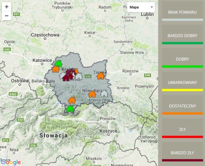 Jakość powietrza w woj. małopolskim (GIOŚ Kraków)