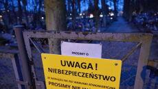 Zamknięte wejście na Cmentarz Garnizonowy w Gdańsku (PAP/Adam Warżawa)