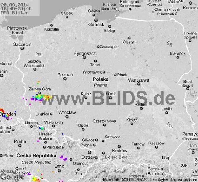 Wyładowania atmosferyczne nad Polską w godz. 18.45 - 20.45