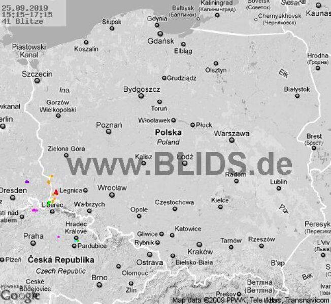Ścieżka burz w godzinach 15.15-17.15 (blids.de)
